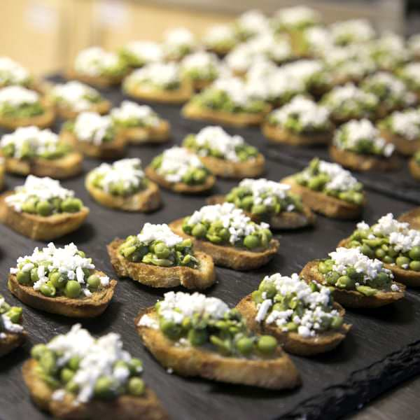 Pea and mint Bruschetta